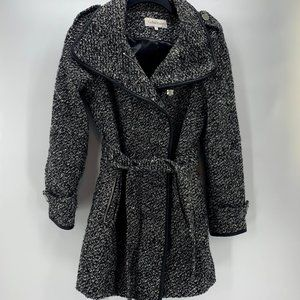 Calvin Klein Black & White Tweed Wool Blend Coat